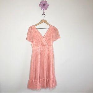 Gal Meets Glam Zelda Retro Dot Shirred Pink Dress